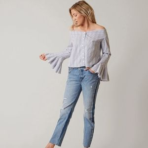 Free People Blue Stipe Off Shoulder Top